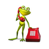 3d Illustration Frog with Red Phone Royalty Free Stock Image