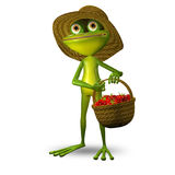 3d Illustration Frog with Strawberry Royalty Free Stock Image