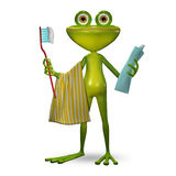 3d Illustration Frog with Toothpaste Royalty Free Stock Image