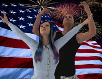 ( 3D illustration )In front of the American flag. Two happy young people are jumping for joy in front of the American flag Royalty Free Stock Images
