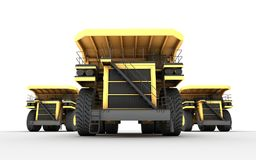 3d illustration. Front bottom view of group with team leader of. Three empty mining dump truck tipper cars. massive powerful conception Stock Images