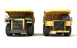 3d illustration. Front view group of two empty mining dump truck. Tipper big heavy yellow cars Royalty Free Stock Photography