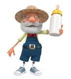 3d illustration funny farmer with a bottle for feeding baby. 3d illustration an elderly farmer advertises its products Stock Image