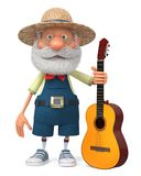 3d illustration funny farmer with a guitar Stock Photo