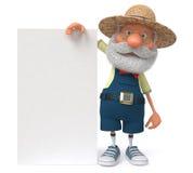3D illustration funny farmer poster Stock Photography
