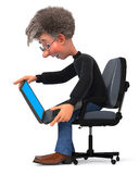 3d illustration funny student in glasses sitting in chair Stock Photo