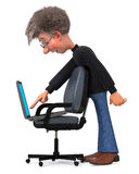 3d illustration funny student in glasses sitting in chair Stock Photography