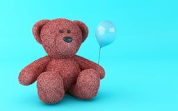 3d Teddy bear with balloon. 3d illustration. Funny teddy bear with blue balloon on blue background Stock Images