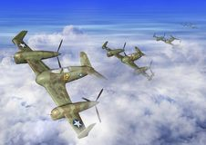 3D Illustration of a futuristic Airplane Squadron Flying in the Clouds. 3D Illustration of a futuristic Airplane Squadron Flying High in the Clouds on a bright Stock Illustration
