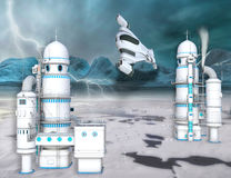 3D illustration of a futuristic Arctic Ice station Stock Image