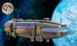 3D Illustration of a Futuristic Cargo Ship Approaching Earth. 3D Illustration of a Futuristic Cargo Ship Approaching Brightly Lit Earth with Moon in Background stock illustration