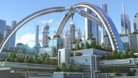 3D Illustration of a futuristic city royalty free illustration