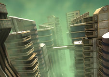 3D Illustration Futuristic City. 3D Illustration of a futuristic city in a green fog Stock Photography