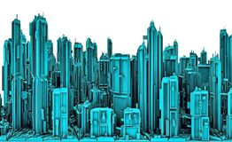 3D Illustration Of Futuristic City Of Skyscrapers. Landscape View. Royalty Free Stock Photos