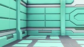3d renderingof futuristic design spaceship interior. Render royalty free illustration