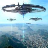 3D Illustration of futuristic energy source in Rio De Janeiro. 3D Illustration of alien spaceships or drone fleet supplying energy, over Rio De Janeiro, Brazil Vector Illustration