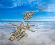 3D Illustration of a futuristic helicopter squadron. 3D Illustration of a futuristic military helicopter squadron flying in formation above the clouds Stock Photos