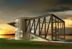 3D Illustration of a futuristic luxury house royalty free stock image