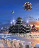 3D Illustration of a futuristic marina city. 3D Illustration of a futuristic city with modular architecture, water floating transport structures and hovering vector illustration