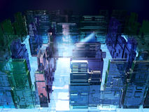3D illustration of futuristic microchip maze. Computer science fiction technology background Royalty Free Stock Photography