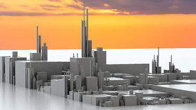 3D illustration of futuristic modern city. Architecture Royalty Free Stock Photos