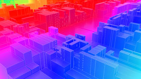 3D illustration of futuristic modern city. Architecture Royalty Free Stock Photo