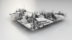 3D illustration of futuristic modern city. Architecture Royalty Free Stock Photography
