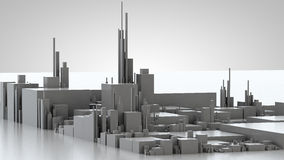 3D illustration of futuristic modern city. Architecture Stock Images