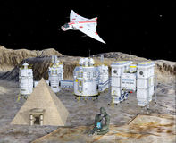 3D illustration of futuristic space base settlement Royalty Free Stock Photography