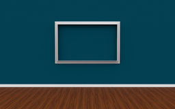 3D illustration of gallery interior with empty photo frame Stock Image