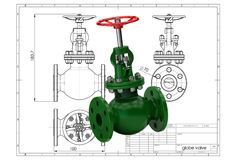3d illustration of gas valve. Above engineering drawing Stock Photo