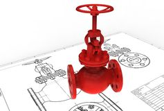 3d illustration of gas valve. Above engineering drawing Stock Image