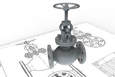 3d illustration of gas valve vector illustration