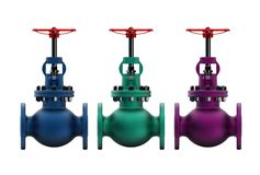 3d illustration of gas valves. Isolated on white Royalty Free Stock Photography