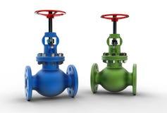3d illustration of gas valves. On white Stock Image