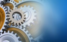 3d gears. 3d illustration of gear over blue background with gears Royalty Free Stock Photo