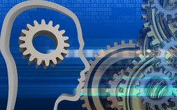 3d blank. 3d illustration of gear over cyber background with gears system Royalty Free Stock Photos