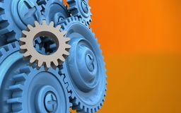 3d gear. 3d illustration of gear over orange background with blue gears Stock Photography