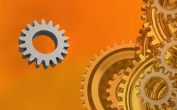 3d gears system. 3d illustration of gear over orange background with gears system Royalty Free Stock Photo