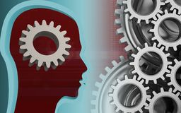 3d head profile. 3d illustration of gear over red background with mechanic Royalty Free Stock Photo