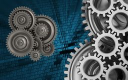 3d mechanic. 3d illustration of gear wheels over binary background with mechanic Royalty Free Stock Photo
