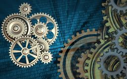 3d blank. 3d illustration of gears over binary background with gears system Stock Image