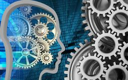 3d gears. 3d illustration of gears over binary background with mechanic Royalty Free Stock Photo