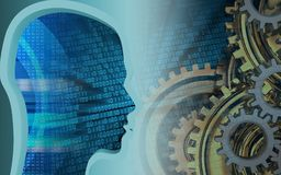 3d head profile. 3d illustration of gears system over binary background with head profile Royalty Free Stock Image
