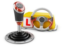 3d illustration of gearshift with drive school schild, isolated on white royalty free stock photography