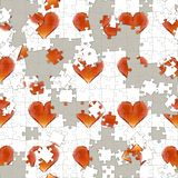 3d illustration gem hearts in for of puzzle game seamless pattern. Valentine's day background Royalty Free Stock Images