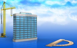 3d of generic building. 3d illustration of generic building with crane over sky background Stock Image