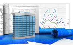 3d. Illustration of generic building with drawings over business graph background Stock Photo