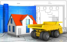 3d with drawing roll. 3d illustration of generic house with drawing roll over blueprint background Royalty Free Stock Image