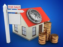 3d generic house. 3d illustration of generic house over blue background with bank door and sale sign Royalty Free Stock Images